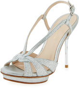 Pelle Moda Perry Crystal Suede Slingback Sandal, Silver