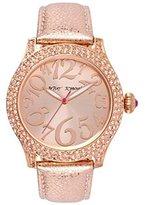 Betsey Johnson Women's Metallic Rose Leather Strap Watch BJ00019-60