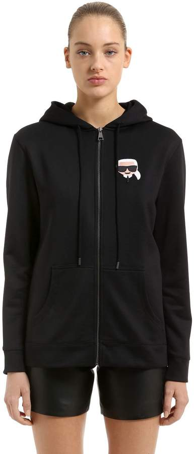 Karl Lagerfeld Oversized Zip-Up Cotton Sweatshirt