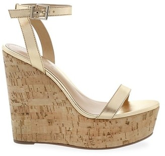 Schutz Eduarda Leather Cork Platform Wedges