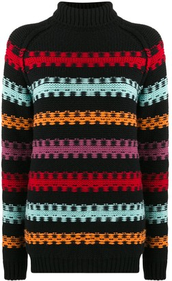 Plan C Stripe-Intarsia Sweater