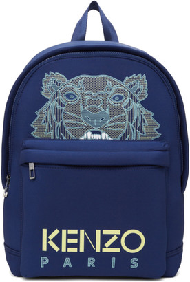 Kenzo Blue Neoprene Large Tiger Backpack