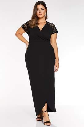 Quiz Curve Black Lace Cap Sleeve Maxi Dress