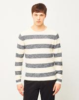 ONLY & SONS Aldin Striped Crew Neck Sweatshirt White