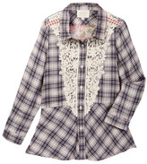 Hannah Banana Tunic Length Plaid Shirt With Lace Applique Front (Big Girls)