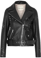 Sandy Liang - Astro Delancey Embroidered Textured-leather Biker Jacket - Black