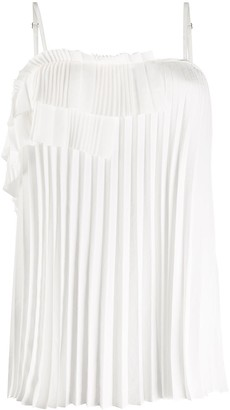 P.A.R.O.S.H. Pleated Ruffle-Trimmed Tank Top