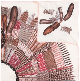 Longchamp Beaded Feather Pattern Scarf