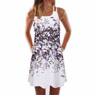 Buyao Women Summer Casual T-Shirt Floral Print Bohemian Mini Dress Swing Boho Sundress Sleeveless Short Dresses Blue