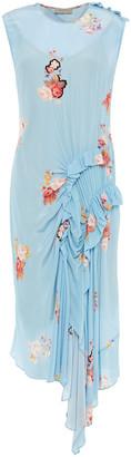 Preen Line Antoinette Draped Floral-print Crepe De Chine Midi Dress