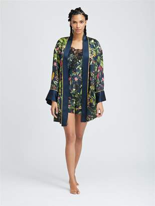 Oscar de la Renta Toucan Jungle Silk-Charmeuse Robe