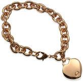 GUESS Rose Gold-Tone Heart Charm Link Bracelet