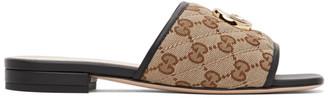 Gucci Beige Canvas GG Slides