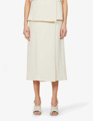 Rosetta Getty Buckle-embellished high-waist wool-crepe midi skirt