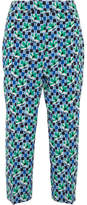 Prada Cropped Printed Silk Crepe De Chine Straight-leg Pants - Blue
