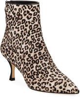Stuart Weitzman Juniper Spotted Leopard-Print Fur Booties