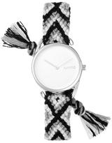 RumbaTime Jane Silvertone White Dial Interchangeable Black, White, and Gray Braided Strap Watch
