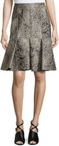 J. Mendel Envelope Skirt with Lace Embroidery, Imperial Blue
