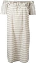 Steffen Schraut striped off the shoulder dress - women - Cotton - 40