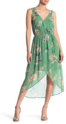 Dr2 By Daniel Rainn Floral Faux Wrap Hi-Lo Dress