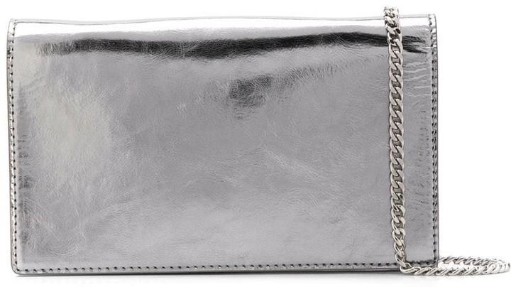 Casadei polished metallic clutch