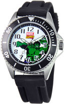 Marvel Disney Honor Mens The Hulk Black Silicone Strap Watch