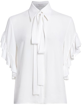 Michael Kors Ruffled Silk Tieneck Blouse