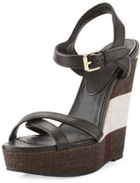 Burberry Whelan Crisscross Check Wedge Sandal, Black