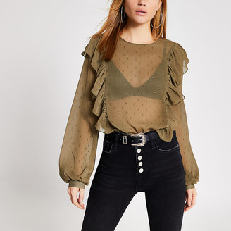 River Island Khaki textured frill front sheer blouse