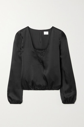 CAMI NYC The Katy Wrap-effect Lace-trimmed Silk-satin Blouse - Black