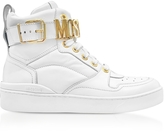 Moschino Optic White Leather High Top Women's Sneakers