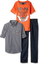 U.S. Polo Assn. Big Boys' Long Sleeve Woven Shirt, T-Shirt and Denim Jean