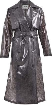 MSGM Leopard Print Pvc Trench Coat
