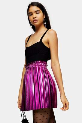 Topshop Pink Metallic Pleated PU Mini Skirt