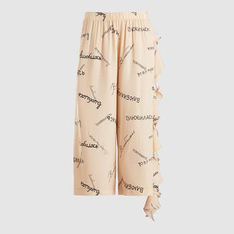 Natasha Zinko Cream Ruffled Printed Silk Pyjama Pants FR 44