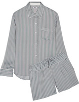 DKNY Striped Satin Pajama Set - Gray