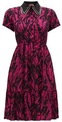 No.21 No. 21 - Embellished-collar Zebra-print Dress - Fuchsia