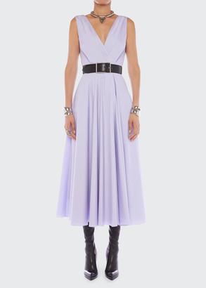 Alexander McQueen Belted V-Neck Sleeveless Belted Midi Dress