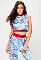 Missguided Blue Satin Floral Crop Top, Multi