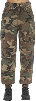R 13 Camo Print Cotton Canvas Cargo Pants
