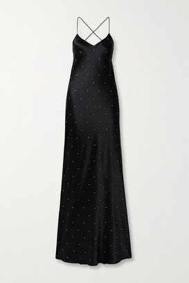Mason by Michelle Mason Open-back Crystal-embellished Silk-satin Gown - Black