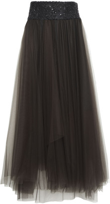 Brunello Cucinelli Sequined Boucle-trimmed Layered Tulle Maxi Skirt