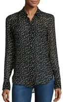 Theory Sunaya NC Silk Star-Print Blouse