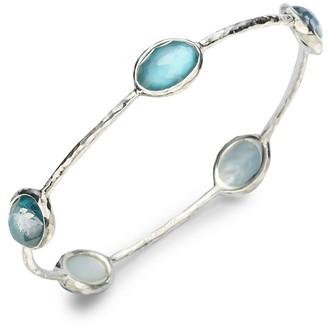 Ippolita Wonderland Mother-of-Pearl, Clear Quartz Sterling Silver Station Five-Stone Doublet Bangle Bracelet