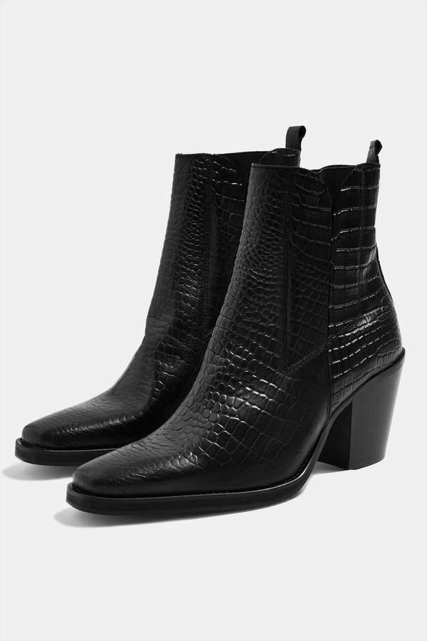Topshop MASON Crocodile Effect Chelsea Boots
