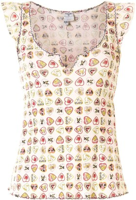 Chanel Pre Owned 2006 Heart Logo Print Blouse