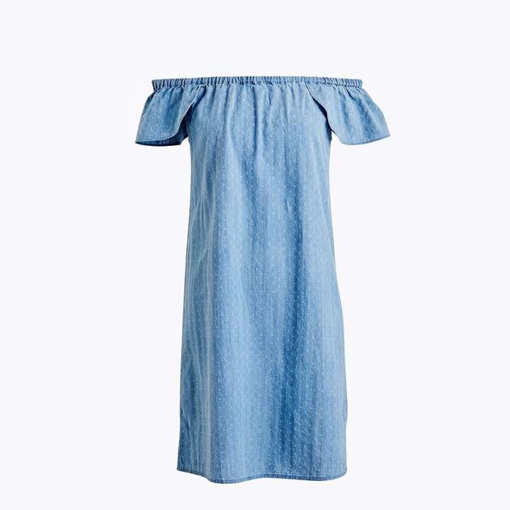 J.Crew Indigo dobby off-the-shoulder dress
