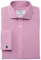 Charles Tyrwhitt Classic Fit Non-Iron Spread Collar Basketweave Check Raspberry Cotton Dress Shirt Size 15/35