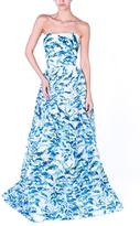 Monique Lhuillier Blue Flower Gown