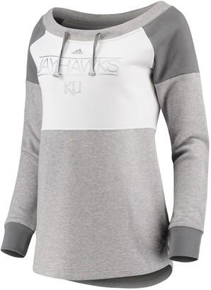 adidas Women's White/Charcoal Kansas Jayhawks Wide Neck French Terry Sweatshirt